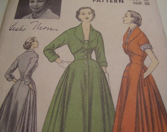 RARE Vintage 1950's Advance American Designer Leslie Morris Dress Sewing Pattern, Size 14, Bust 32