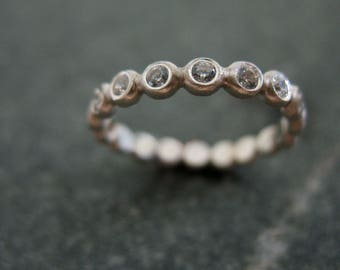 Silver Bead Stacking Ring, Wedding Band with Stones, White Topaz or CZ, Artisan Handmade Made Jewelry