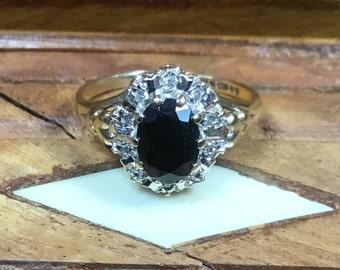 Vintage Diamond and Sapphire 9ct Yellow Gold ring Birmingham 1991