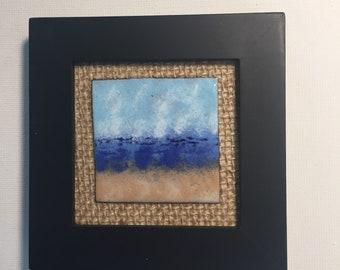 MINI ENAMELED ART Beach Scene, Tiny Art, Framed Art