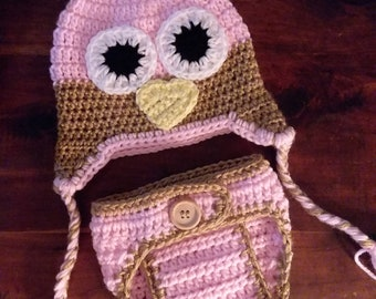 Baby Owl Beenie and Diaper Cover Set