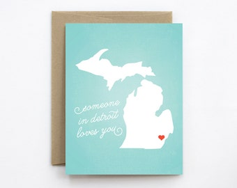 Greeting Card - Someone in Detroit Loves You