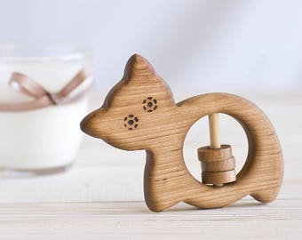 Organic Wooden Baby Rattle Cat