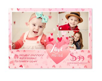 INSTANT DOWNLOAD 5x7 Valentine's Marketing Board Photoshop Template - MA212