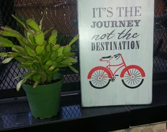 It's The Journey Not The Destination Distressed Wood Sign Bicycle Sign Bike Decor Journey Sign Wanderlust Red Bike Sign Inspirational Sign