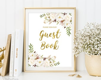 Guest Book Sign, Guest Book Reception Sign, Printable Wedding Sign, Please Sign our Guest Book, Wedding Sign, Instant Download, #A056