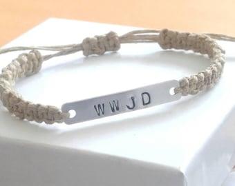 WWJD Bracelet, Silver Bar, Hemp Bracelet, Adjustable Bracelet, Hemp Bracelets, Handmade, Hemp Jewelry, Silver Bar Bracelet, WWJD Bracelets.