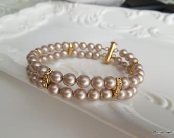 champagne Swarovski Pearls Bridal Pearl Bracelet, wedding Bracelet, Bridal Cuff, Bridesmaid Bracelet, Classic Bridal Bracelet FRANCESCA