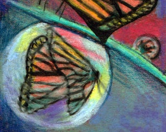 original art  aceo drawing butterfly dewdrop reflection