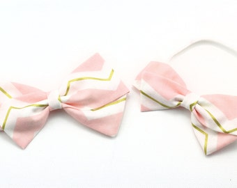 Chevron Bow - Pink and Gold Bow - Nylon Headband or Alligator Clip