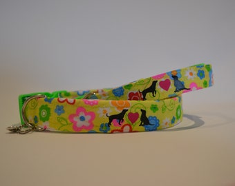Flower Power hand made dog collar, available in four sizes
