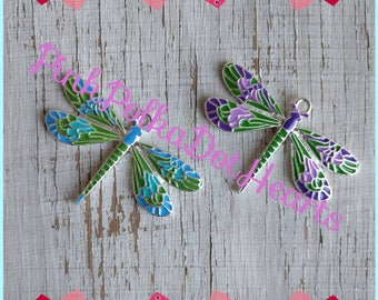 50mm x 35mm dragonfly pendant for necklaces chunky necklace jewelry chunky gumball necklace wholesale supplies bubblegum  purple or aqua