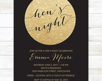 gold and black hen's night invitation, gold glitter hen's party invitation, modern hen's night party invite customizable
