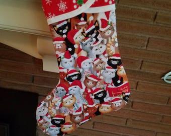 Christmas Stocking with Kitty Print