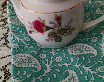 Small rose teapot/shabby chic/gold rimmed/MCM teapot