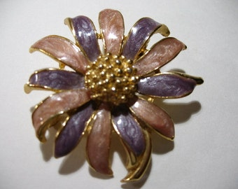 Vintage Gold Tone and Enamel Flower Brooch, Signed