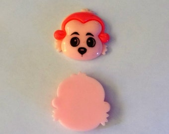 Resin Light Pink Faced Monkey Flat Back Button - #R-00081