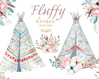 Watercolor boho teepee with bouquets. Wedding  floral digital tee pee, arrows, Clip art . Individual  bohemian PNG bouquet. Hand Painted .