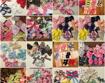 Surprise selection of hair bows, hair accessories, girls hair fashion bows, hair bobbles, alligator clips, crocodile hair clips, hair ties
