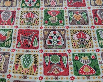 Bright Fun Whimsical Folk Art - Vintage Fabric 50s 60s Atomic Deer Hearts Berries Birds 36 in wide