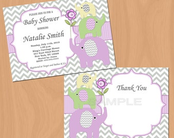Girl Baby Shower Invitation Elephant Baby Shower Invitation Baby Girl Shower Invitation Baby Shower Invite (50p2) - Free Thank You Card
