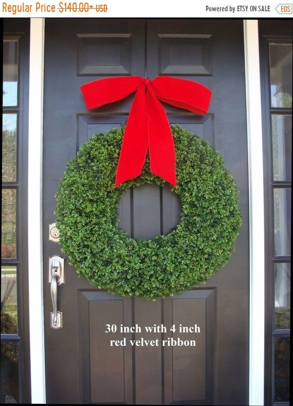 SUMMER WREATH SALE Xl Holiday Faux Boxwood Wreath, Outdoor Christmas Wreath- Christmas Decor- Christmas Decoration- 4 inch Thick Ribbon 22-3