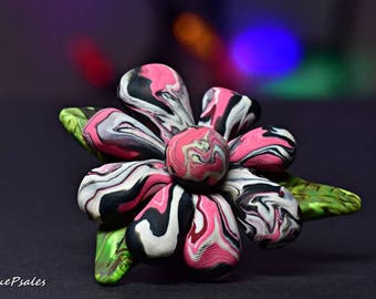 Flower Brooch, Polymer Clay Brooch, Pink, Black, White, Green, Polymer Clay Pin, Statement Pin, Statement Brooch, Statement Jewelry, Daisy