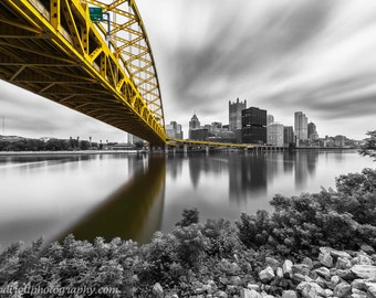 Flying Past the Fort Selective Color Pittsburgh Skyline Matted or Metal Photo Print Photograph Black and White Fort Pitt Bridge Picture