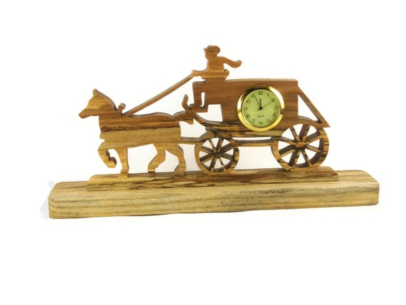 Horse And Carriage / Buggy Desk Or Shelf Clock Handmade From Spalted Ash Wood By KevsKrafts,