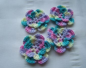 Appliques hand crocheted flowers embellishment set of 4 Easter eggs cotton 1.5 inch
