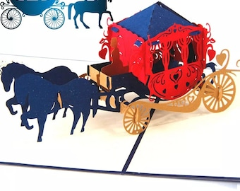 Wedding carriage, Happy Birthday, Congratulations, Royalty, fairy tale, paper craft,wedding, DIY, Gifts3D PopUp Paper Cutting Greeting Cards