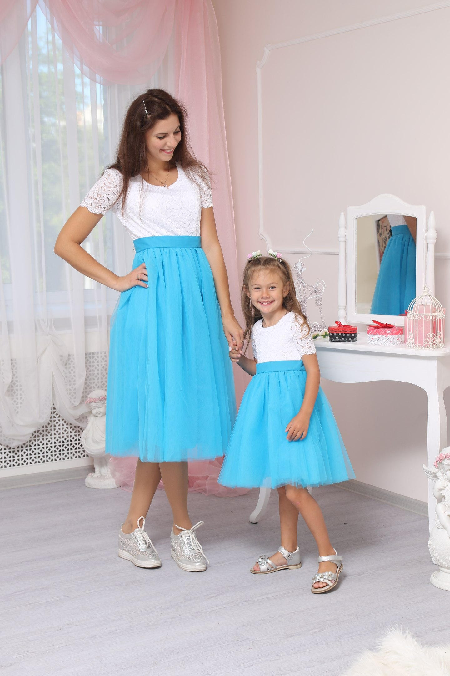 White off/blue lace mother daughter matching dresses Mommy