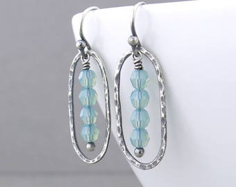 Pacific Opal Earrings Tiny Bead Earrings Dainty Crystal Earrings Summer Outdoors Gift for Her Silver Jewelry - Simple Lines