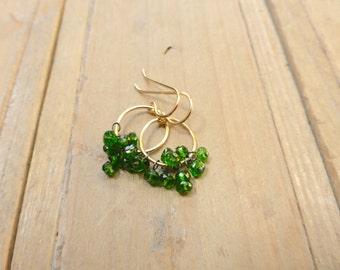 Brightest Green Chrome Diopside Fringe Golden Hoop Earrings