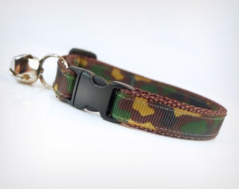 "Cat Collar - ""Commando"" - Camouflage (Green, Brown, Tan + Black) - Hunting & Military"