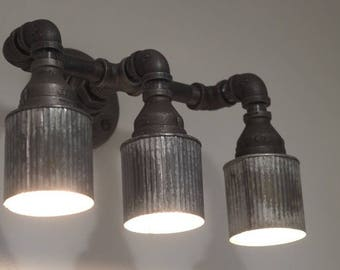 Iron Pipe Sconce with Corrugated Metal Shades