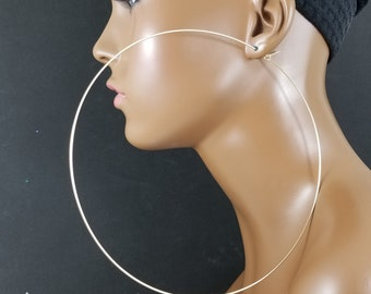 Gold hoop 5 and 6 inch earrings 14k gold filled or gold plated thin basketball wives hoops 776