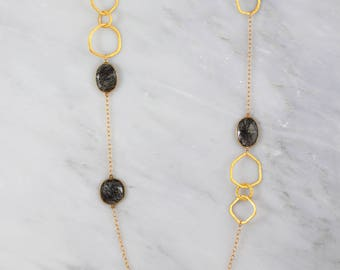 Rutilated Gemstone Necklace, Station Long Bezel Set Necklace, Black Rutilated Gold Necklace, Long Layered Necklace, Designer Necklace