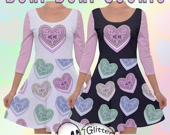 Otaku Cookies -  Quarter Sleeve Skater Dress - Pink - XS to 5XL - Kawaii - Doki Doki - Pastel Goth