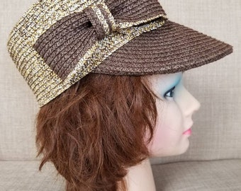 Vintage Women's Woven Billed Hat with Bow
