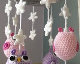 Handmade crochet baby nursery cot mobile with owls and flowers or stars for girls and boys in colours of your choosing!