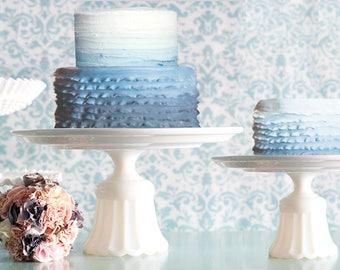 "Ceramic Cake Stand / 15"" Wedding Cake Stand Cake Plate / Wedding Cake Stand with Niagara Blue Wedding Cake / Niagara Blue Weddings"