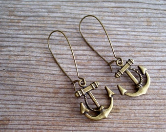Anchor Earrings, Brass Anchor Earrings, Antiqued Brass Plated Sailor Earrings, Nautical Earrings, Nautical Jewelry, Bronze Anchor Earrings