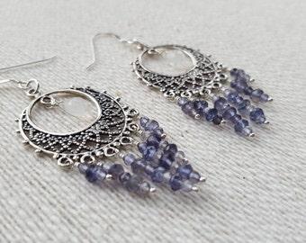 Rainbow Moonstone Earrings, Moonstone Earrings, Iolite Earrings, Gemstone Earrings, Dangle Earrings, Rainbow Moonstone, Iolite, Gift For Her