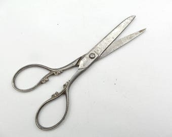 Vintage French Embroidery marked Steel Scissors. Needlework Scissor Sewing Collectible. Hand made scissors.