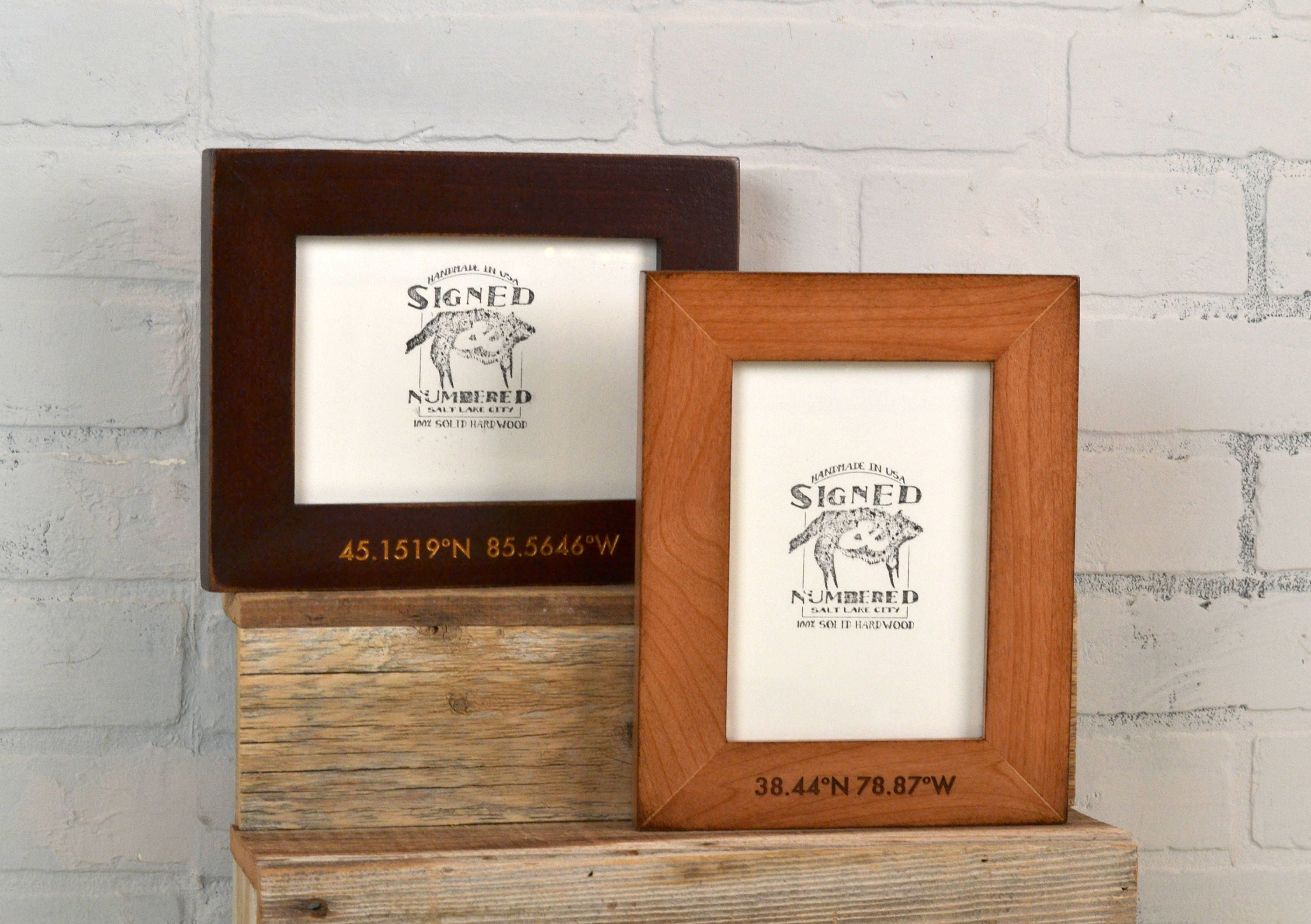 5x7 Coordinates Frame Custom Engraved in Finish COLOR of YOUR
