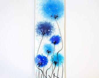 Blue Fused Glass Wall Art - Poppy Art - Handmade Glass Gift - Blue Glass Art - Blue Flower Art - Glass Poppy Wall Art - EH 689