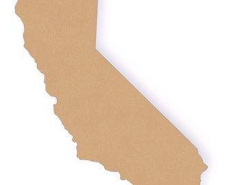 """13"""" Tall Unfinished Wooden California -  MDF Wood Craft Cutout Shape - Smooth and ready to paint!"""