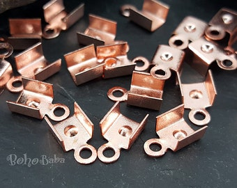 25 Pc, Rose Gold Plated Fold Over Crimps, Cord Ends, Necklace Making, Leather Cord Crimps, Jewelry Supplies, Rose Gold Jewelry Findings