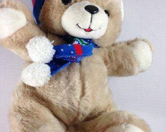 "Humfrey Stuffed Bear Large 15"" Jumbo Winter Holidays Stocking Hat Scarf Toy"